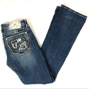 Miss Me Sequin Metal Bling Boot Cut Jeans H0110